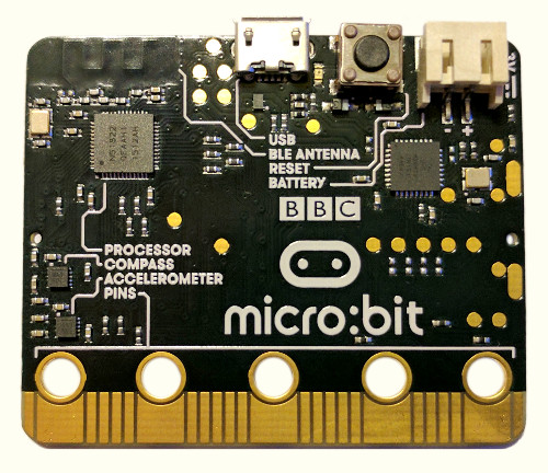 The bottom side of the micro:bit, showing chip layout, pins, port, and reset button.