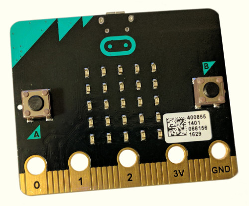 The top side of the micro:bit, showing two buttons and a five-by-five array of LEDs.