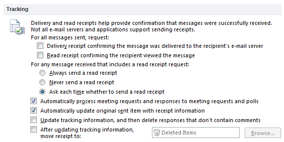 "Outlook tracking options, showing ""Ask each time whether to send a read receipt"""