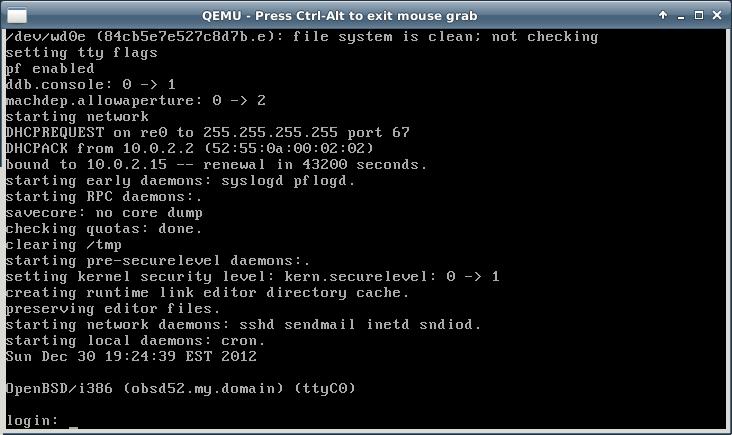 OpenBSD in QEMU